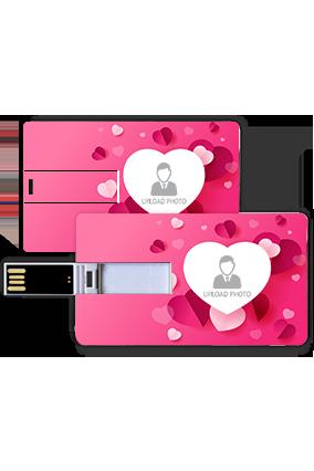 Beautiful Heart Shape Custom Photo Credit Card Pen Drive