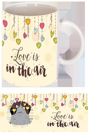 Hanging Colorful Hearts Trendy Ceramic Valentine Mug