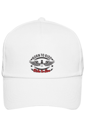 Born To Ride Cotton White Cap