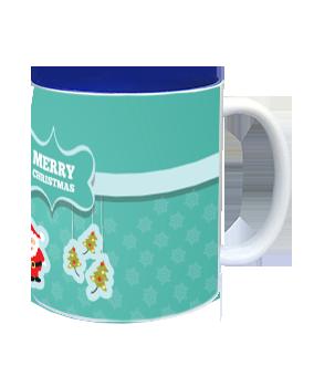 Happy Merry Merry Christmas Inside Blue Mug