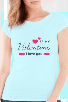 Be My Partner Valentine Day Girls Sky Blue T-Shirt