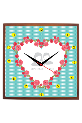 Floral Heart Square Wooden Wall Clock