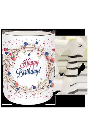 Birthday Gala Zebra Handle Mug