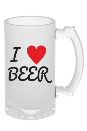 Personalized I Love Frosted Beer Mug