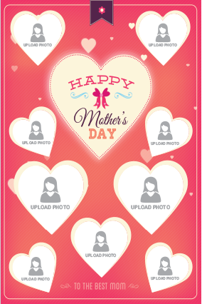 Red Heart mother's Day Portrait Collage