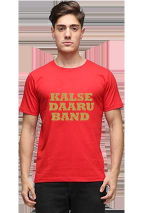 Cool Golden Glitter Red Round Neck Cotton Effit T-Shirt