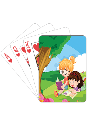 Adorable Girls Playing Cards