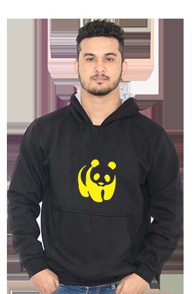 Panda Full Sleeves Black Hoodie