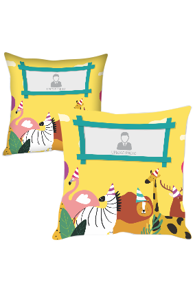 Cute Animals with Photo Polyester Cushion Cover