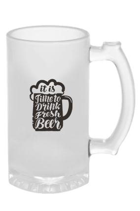 Time to Drink Fresh Beer Frosted Glass Beer Mug