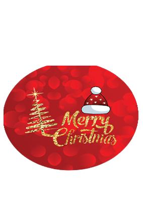 Red Santa Cap Merry Christmas Round Coaster