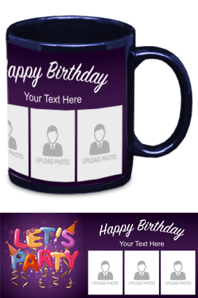 Lets Party Personalized Birthday Blue Patch Mug