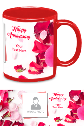 Rose Leaves Personalized Anniversary Red Patch Mug