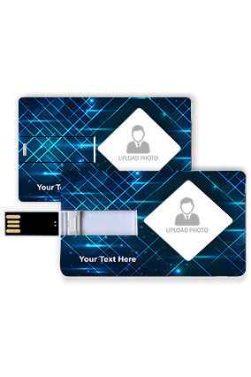 Bolting Blue Rays Personalized Credit Card Pen Drive