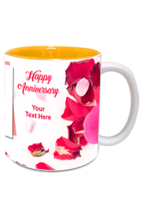 Rose Leaves Personalized Anniversary Inside Yellow Mug