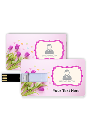 Purple Tulip Personalized Plastic Credit Card Pen Drive