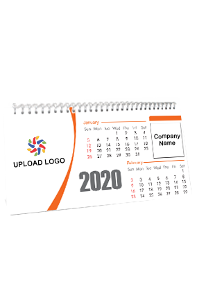 Customized Orange Theme Desk Photo Calendar(11 x 6 Inches) - 6 Leaves