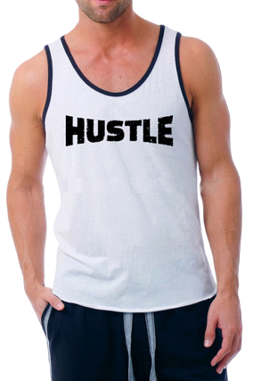 Hustle Poly Cotton Sleeveless Gym and Sportswear Tank Tops Sports Tshirt or Vests for Men