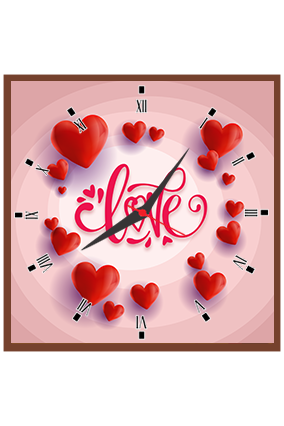 Love with Red Hearts Wall Square Clock