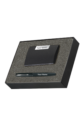Parker Frontier Matte Black Chrome Trim Roller Ball Pen Gift Set - Blue Ink, with Card Holder