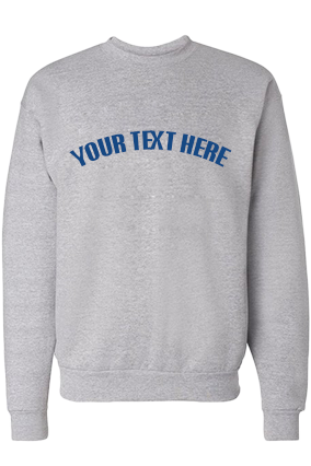Custom Text Curve Blue Print Gray Sweatshirt