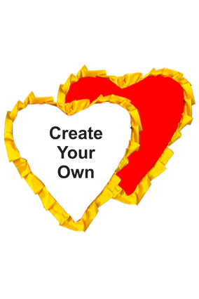 Create Your Own Velvet Heart Shape Red With Yellow Ribbon Cushion