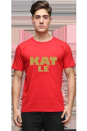 Funky Golden Glitter Red Round Neck Cotton Effit T-Shirt