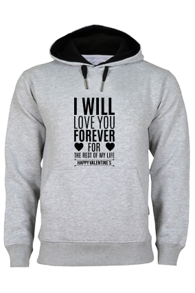 Cool Forever Valentine's Day Black Print Gray Hoodie