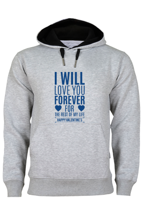 Forever Valentine's Day Blue Print Gray Hoodie