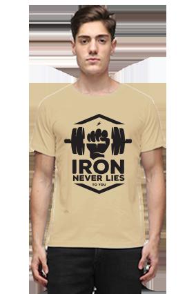 Iron Never Lies Half Sleeves Beige Round Neck Cotton T-Shirt
