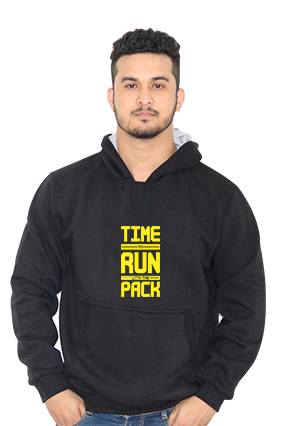 Time To Run With Pack Full Sleeves Black Hoodie