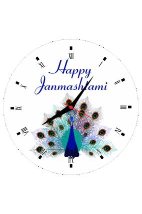 happy Janmashtami Peacock Wall Clock Circle Without Border