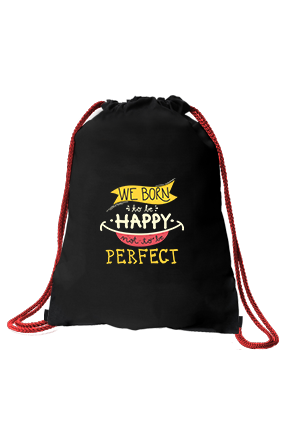 Be Happy Black Sack Bag