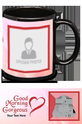 Good Morning Gorgeous Printed Black Patch Mug