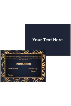 Black and Golden Designer Namkaran Invitation Card