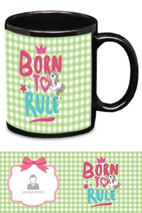Born to Rule Personalized Kids Designer Black Patch Mug