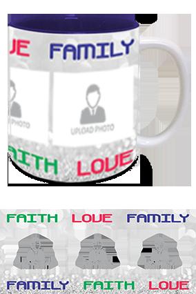 Faith Love Family Photo Printed Personalized Trendy Inside Blue Mug