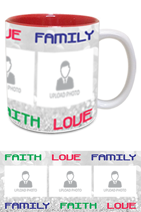 Faith Love Family Photo Printed Personalized Trendy Inside Red Mug