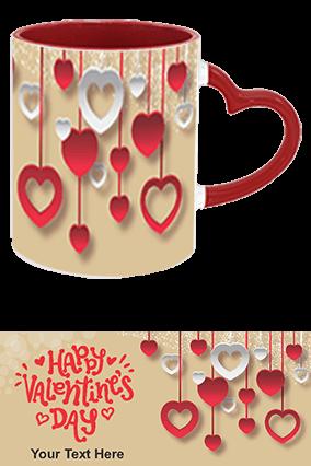 Beautiful Happy Valentine's Day Heart Handle Inside Maroon Mug