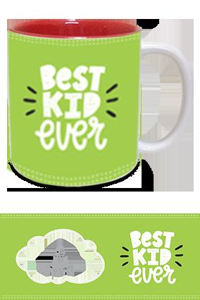 Best Kid Ever Photo Printed Kids Designer Inside Red Mugs