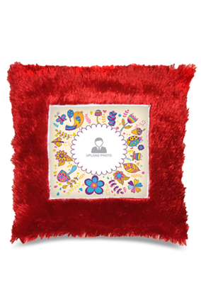 Abstract  Square Fur Cushion