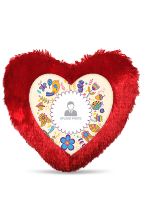 Colorful Birthday Heart Fur Cushion