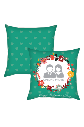 Green Colored Valentines Day Cushion Cover