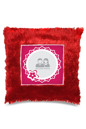 Pink Floral Square Fur Cushion