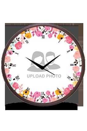 Flower Frame Wooden Wall Clock
