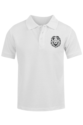 Customised Lion White Cotton Polo T-Shirt