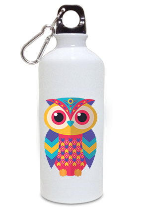 Colourful Owl 600ml White Sipper