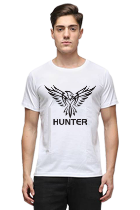 Eagle Hunter Half Sleeves White Round Neck Cotton Effit T-Shirt