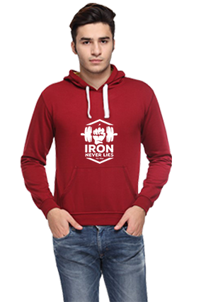 Amazing Iron Never lies Full Sleeves Maroon Hoodie