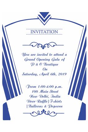 Simple and Sober Blue Portrait Invitation Card